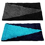 "Story@Home Handicraft Style Eco Series Striped 2 Piece Cotton Blend Door Mat Set - 16""x 24"", Silver and Blue"