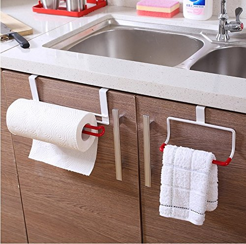 Preisvergleich Produktbild Neue TougMoo Home Edelstahl Regale Badezimmer Handtuchhalter Haken hängen Schranktür zurück Küche Zubehör Etagere, Weiß Rot