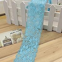 Cinta de encaje de 5,7 cm, borde de encaje floral, encaje elástico para manualidades, decoración, fabricación de fibras de pelo y regalo (39,37 pulgadas) Tamaño libre azul claro