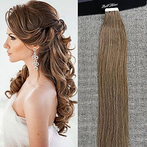 Full Shine 24 Zoll Color #8 Ash Brown 100g Per Set 40 Stuck Remy Human Haarverlängerung Tape in Brazilian Virgin Human Hair Extensions