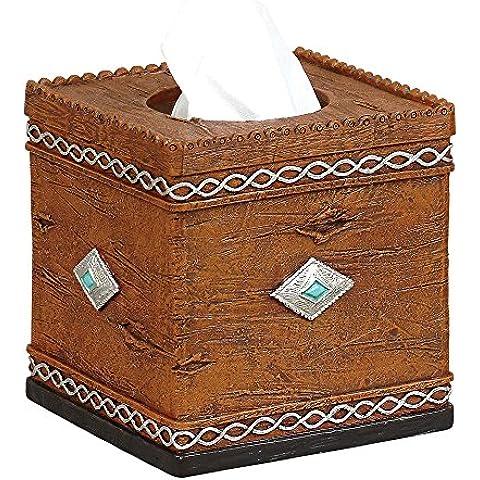 Navajo Rustic Tissue Box - Lodge Bath Decor by Black Forest Decor