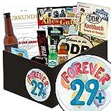 Forever 29 + | Männer Set | Geschenk Ideen | Forever 29 + | Männer Box | Geschenk zum 30. Geburtstag Cousine | ausgefallenes Geschenk zum 30. Geburtstag | GRATIS DDR Kochbuch