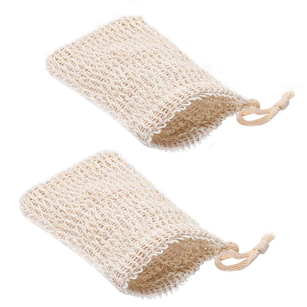 Siumir Sisal Soap Bag with Drawstring Natural Soap Pack Soap Saver Pouch for Foaming, Drying Soaps, Exfoliation, Massage – 2 PCS