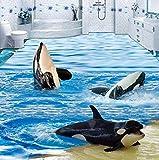 Mbwlkj 3D Wallpaper Cartoon Sea Wave Dolphins Bodenfliesen Wandbilder Aufkleber Badezimmer Kinder Schlafzimmer Pvc Wasserdichte Selbstklebende Tapeten-250cmx175cm
