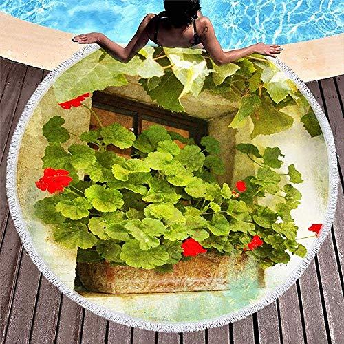 Drollpoe Playa Redonda Toallas Borlas Verde París Ventana Vieja Yeso Geranio Flores...