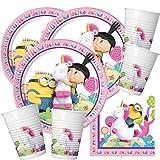 52-Teiliges Party-Set Minions - Einhorn Fluffy - Teller Becher Servietten für 16 Kinder
