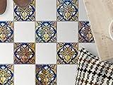 Fußboden-Fliesen aufkleben   Muster-Bodenfliesenfolie Badezimmerfliesen Balkon-Dekofolie Küchengestaltung   15x15 cm Muster Ornament Golden Twenties - 9 Stück