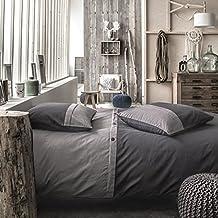 TODAY Parure de couette Cassandre 100% coton - 1 housse de couette 220x240 cm + 2 taies d'oreillers 63x63 cm ardoise