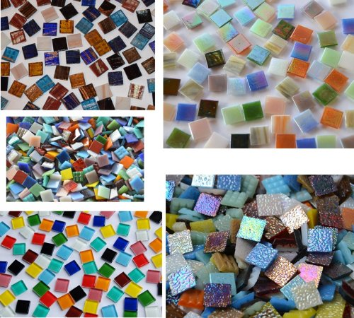 Bazare Masud e.K. Coloured Glass Mosaic Stones From 5 Different Types of Stone 15 x 15 mm Approx. 760 g Pack of 500 As a