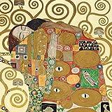 Gustav Klimt - Cuadro «El beso», 50x 50cm - Impresión sobre panel de madera DM, borde negro