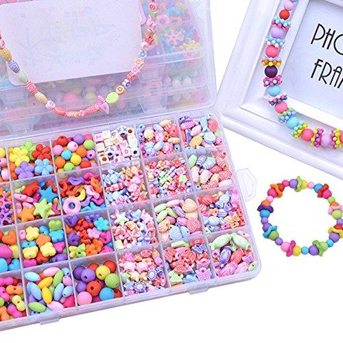 Fansport Perlen Set, Perlen Spielzeug DIY Schmuck Machen Halskette Armband Kunst Handwerk Spielzeug für Mädchen