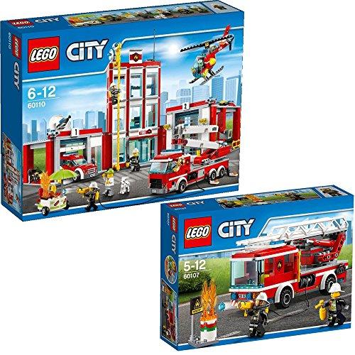 feuerwehrwache lego Lego City 2er Set 60107 60110 Feuerwehrfahrzeug mit fahrbarer Leiter + Große Feuerwehrstation