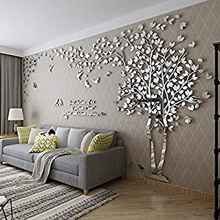 DIY 3D Huge Couple Tree Wall Stickers Crystal Acrylic Wall Decals Wall Murals Home Decorations Arts (L, Silver, Left)