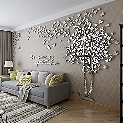 DIY 3D Huge Couple Tree Wall Stickers Crystal Acrylic Wall Decals Wall Murals Home Decorations Arts (XL, Silver, Left)