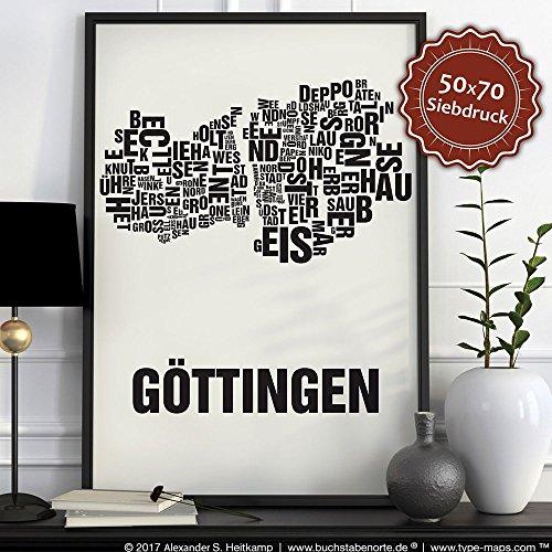 Göttingen Buchstabenort Schwarz auf Naturweiß