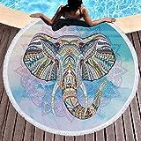 Strandtuch rund, indisches Mandala Elefant