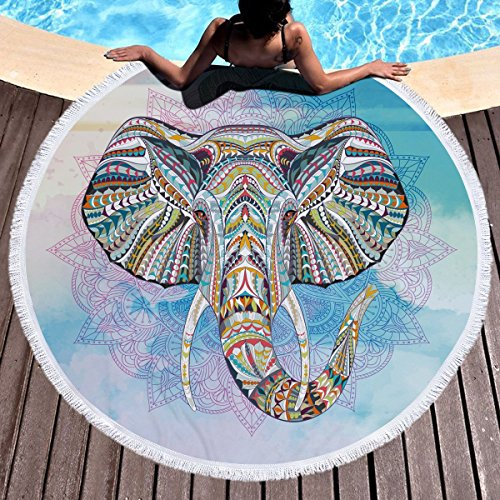 Strandtuch Runde Tischdecke Wandbehang Tapisserie Strand Decke Werfen Yoga Matte Teppich Sonnencreme Schal Quasten Baumwolle 63 Zoll Durchmesser 150cm (Design : C) -