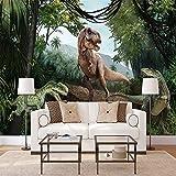 Wandgemälde Benutzerdefinierte Fototapete 3D Jurassic Dinosaurier Wandbild Restaurant Schlafzimmer Wohnzimmer Sofa Hintergrund Wasserdichte Tapetenbahn,250Cm(H)×360Cm(W)