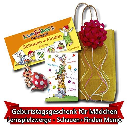 Geburtstagsgeschenk für Mädchen ab 4 Jahre - Lernspielzwerge - Schauen und Finden Memo