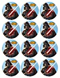 Generique - 12 Mini Tortenaufleger Star Wars