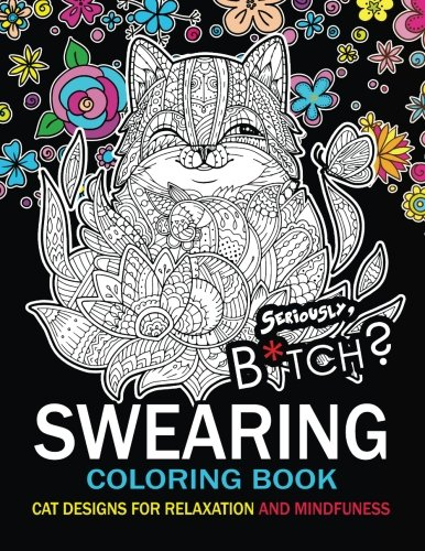 Swearing Coloring book: An Adult coloring book : Cat design with swear word and flower