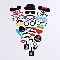 2 Naissance Photo Booth Props 31Pieces DIY Kit for Wedding Dress-up Accessories & Photo Shoots & Special Events Party Favors Party supplies Costumes with Mustache on a stick