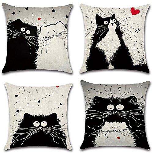 HuifengS Kissenhüllen für Deko-Kissen, quadratisch, aus Leinen, mit Garfieldkatzen-Motiv, für Sofas, Betten und Sessel, 45x 45cm, 4Stück
