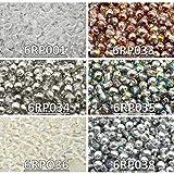 300 stk 6 Farben Tschechische Gepresste Glasperlen Rund 6 mm, Set RP 614 (6RP001 6RP033 6RP034 6RP035 6RP036 6RP038)
