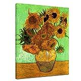 Bilderdepot24 Kunstdruck - Alte Meister - Vincent Van Gogh - Zwölf Sonnenblumen - 40x50cm einteilig - Leinwandbilder - Bild auf Leinwand