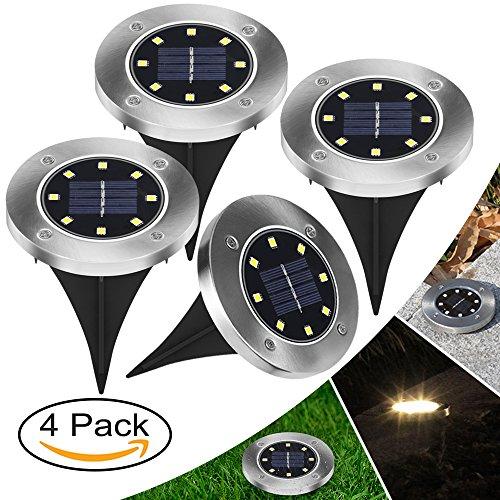 【Neue Version】4 Stück LED Solarleuchten Bodenleuchte 8 LED Solar Leucht außen Solarleuchte Wasserdichte Solar Bodenstrahler Edelstahl Garten Landschaftslichter für Rasen Weg Hof Fahrstraßen, WarmWeiß