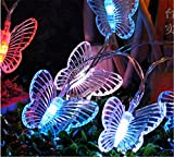 SHHE Solar Fairy Lights 5M 30 Led 2 Modes Outdoor Butterfly String Lights for Garden Patio Party Christmas Decoration(Colored)