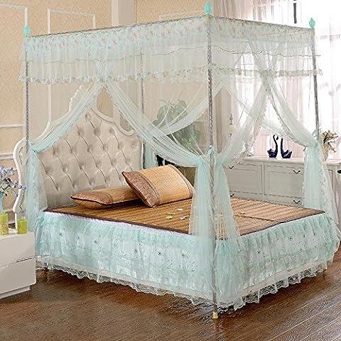 Cama de mosquito verde acero inoxidable piso stand tres redes 1,5 1,8 M lujo decoración del hogar en las redes de la cama