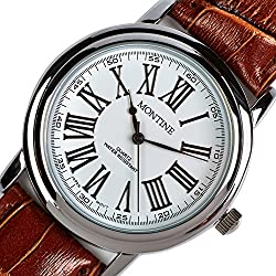 Montine Roman Numerals Brown Leather Analogue Quartz Classic Men's Watch