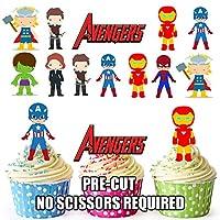 AK Giftshop PRE-CUT Avengers Superhero - Edible Cupcake Toppers/Cake Decorations (Pack of 36)