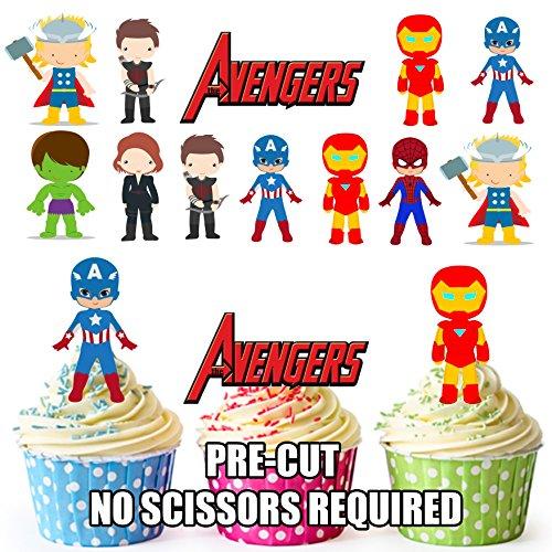 Vorgeschnittene Avengers Superhelden - Essbare Cupcake Topper / Kuchendekorationen (36 Stück)