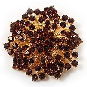 Broche corsage victorien fleur (ambre et citrine)