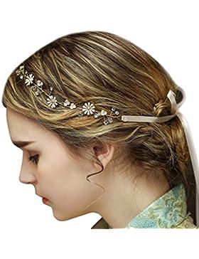 Vintage Braut Rebe Stirnbänder Strass Perlen Blumen Hochzeit Haarteile