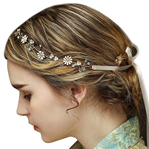 Vintage Gold Braut Rebe Stirnbänder Strass Perlen Blumen Hochzeit Haarteile