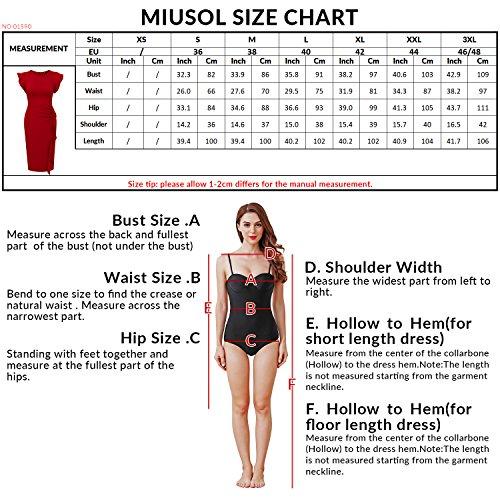 Miusol Rundhals Abendkleid mit Falte Etuikleid Knielanges Kleid - 3