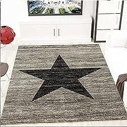 Alfombra de diseño para habitación juvenil motivo en forma de estrella jaspeada en negro y gris - Material certificado según ÖKO TEX, Maße:120 cm x 170 cm