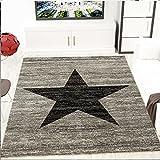 Jugendzimmer Teppich Design Sternmuster Meliert in Schwarz Grau - ÖKO TEX Zertifiziert, Maße:120 x 170 cm