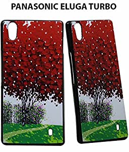 JKOBI(TM) Exclusive Rubberised Back Case Cover For PANASONIC ELUGA TURBO-RED LEAVES TREE