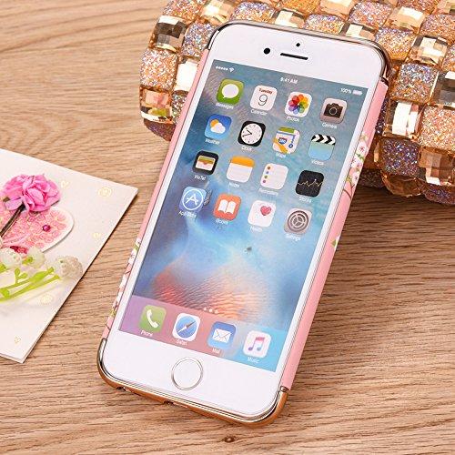 """Protecteur étui avec Détachable Plating Border pour Apple iPhone 6Plus/6sPlus 5.5""""(NON iPhone 6/6s 4.7""""), CLTPY Mode Beau Flower Impression Motif Nocturnes Lumineux Case en Dur Plastique, Ultra Fine S Fleur Blanche"""