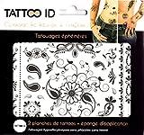 TATTOO ID ORIENTALE tatouage éphemere temporaire hypoallergéniques Fabriqué en FRANCE 2 planches identiques + 1 éponge cosmétique Femme