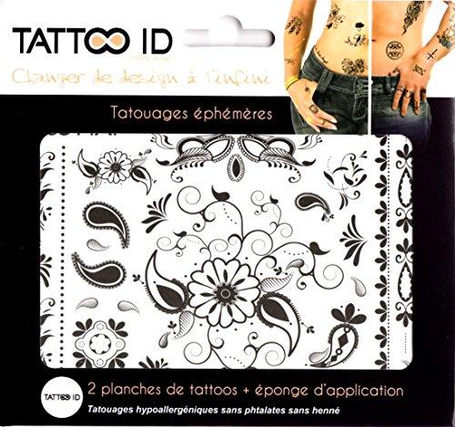 TATTOO ID ORIENTALE DESIGN tatouage ephemere temporaire hypoallergénique Fabriqué en FRANCE. 2 planches identiques + 1 éponge cosmétique Femme