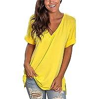 Maglietta Donna Manica Corta Scollo a V T-Shirt Estiva Cotone Elegante Camicia Casual Tinta Unita Sciolto Tee Sportivi…