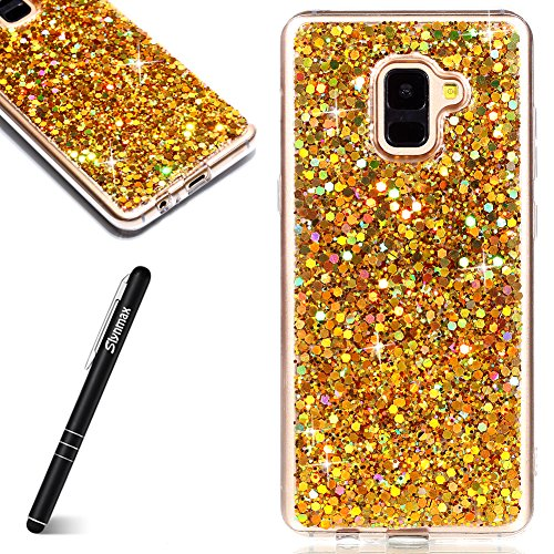 Slynmax Coque Samsung Galaxy A8 2018,Etui Samsung Galaxy A8 2018, Luxe Mode Cool Mince Étui en Silicone Souple Paillette Strass Brillante Bling Bling Glitter de Luxe Flexible TPU Bumper Housse Or