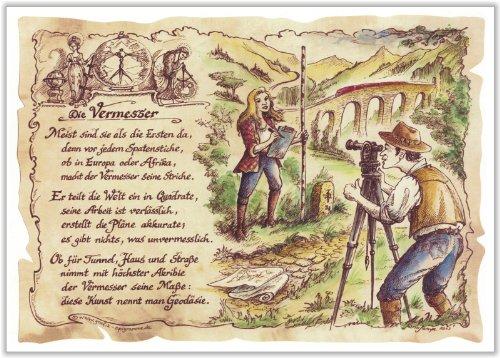 Preisvergleich Produktbild Geschenk Vermesser Geodäsie Gedicht Zeichnung Color 30 x 21 cm