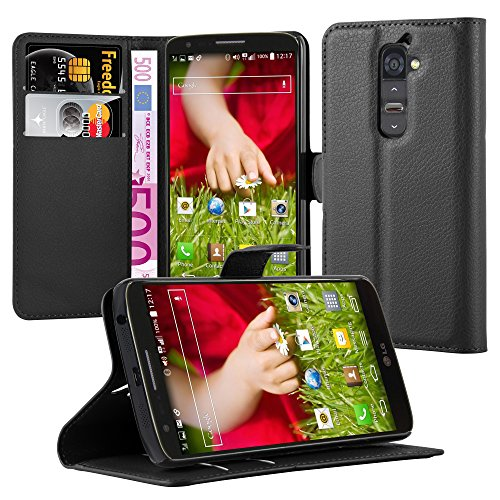 Cadorabo Hülle für LG G2 - Hülle in Phantom SCHWARZ – Handyhülle mit Kartenfach und Standfunktion - Case Cover Schutzhülle Etui Tasche Book Klapp Style