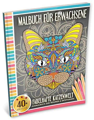 Malbuch für Erwachsene: Fabelhafte Katzenwelt (Kleestern®, A4 Format, 40+ Motive) (A4 Malbuch für Erwachsene)